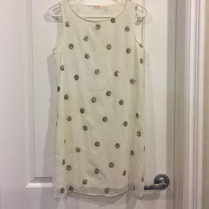 Renee C Polka Dot Beaded Detail White Dress Size S